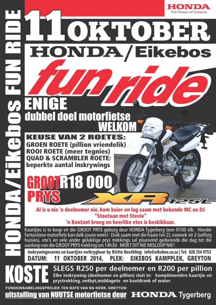 Honda Eikebos 2014 fun ride advertensie